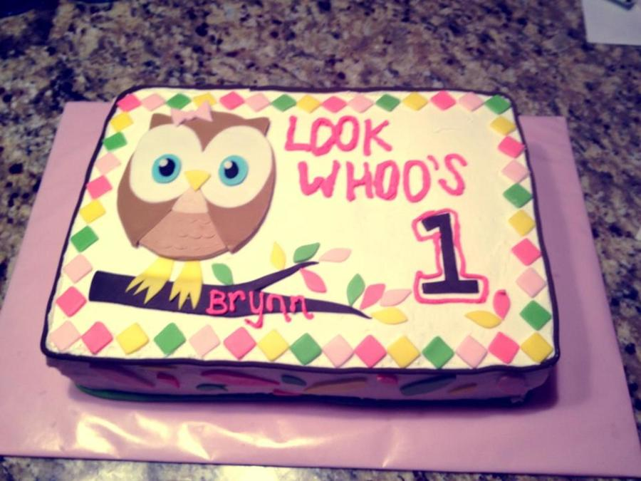 10 Owl Baby Girl First Birthday Sheet Cakes Photo Owl Birthday