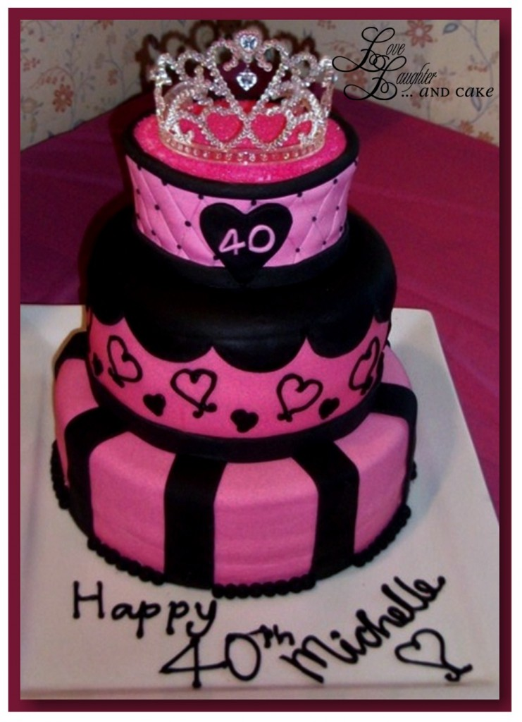 Pink And Black 40th Birthday Cake