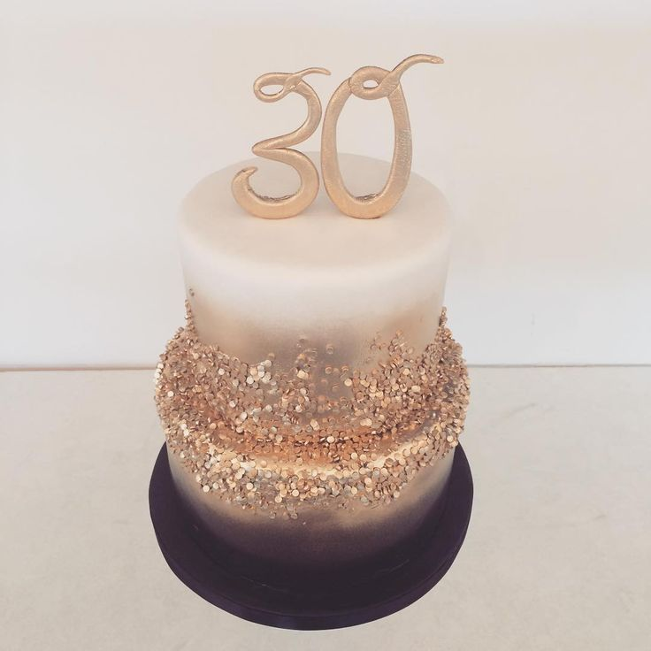 White And Gold 30th Birthday Cake