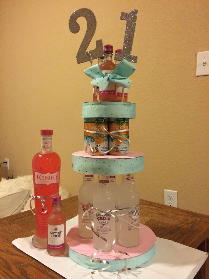 6 21st Birthday Cakes With Alcohol Photo 21st Birthday Cake With