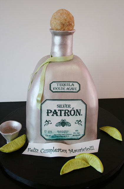 Wondrous 11 Birthday Cakes Patron Bottle Photo Custom Birthday Cakes Personalised Birthday Cards Veneteletsinfo