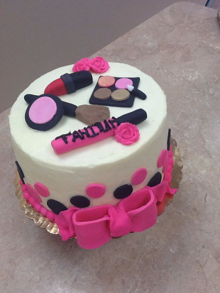 Enjoyable 11 Makeup And Spa Theme Cakes Photo Happy Birthday Makeup Cake Personalised Birthday Cards Xaembasilily Jamesorg