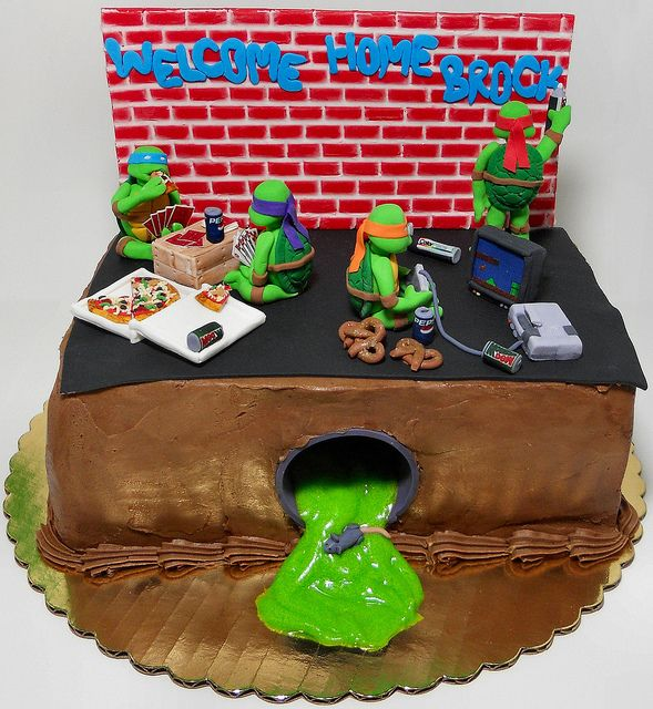 Groovy 8 Mutant Teenage Turtle Cakes With Brick Photo Teenage Mutant Funny Birthday Cards Online Bapapcheapnameinfo