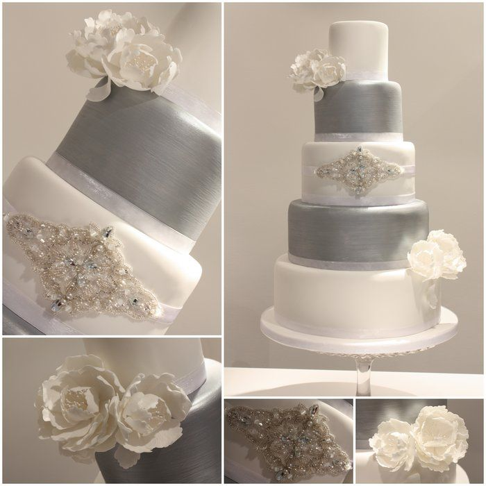 8 Cakes With Silver Designs Photo - White and Silver Wedding Cake ...