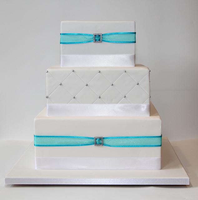 7 3 Tier Square Blue Cakes Photo - Three Tier Wedding Cake Blue, 3 ...