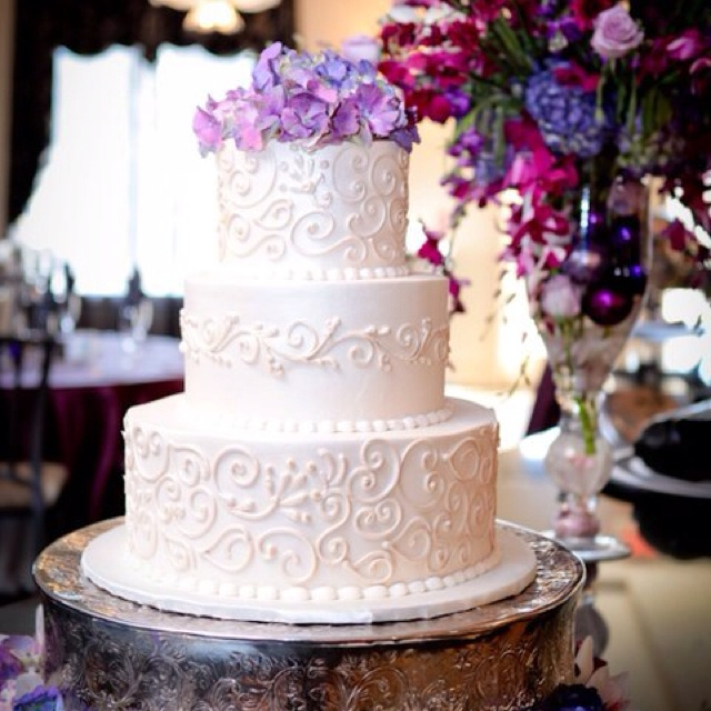 13 Wedding Cakes With Purple Flowers With Bling Photo Wedding Cake