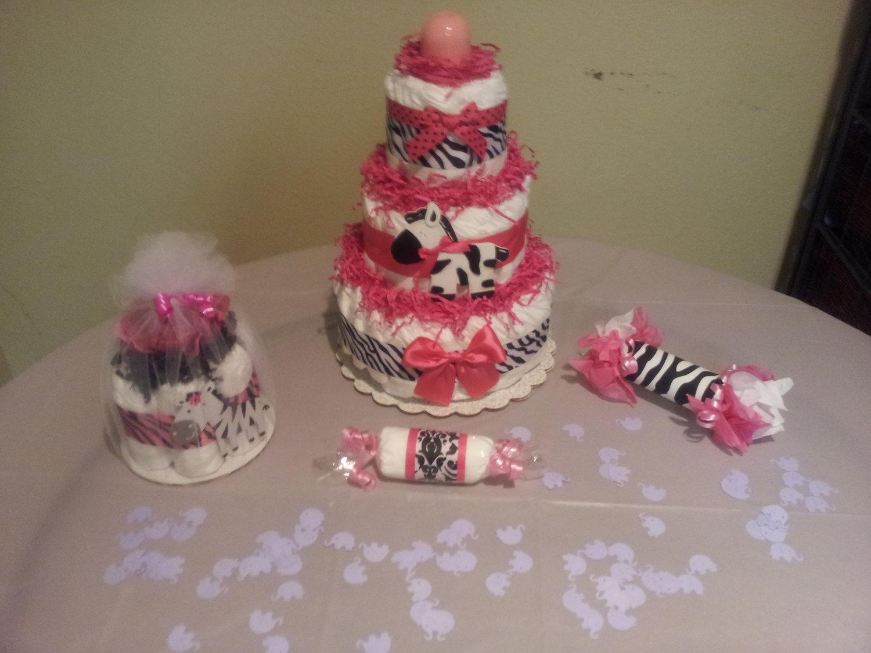 10 Zebra Baby Shower Diaper Cakes Photo Girl Baby Shower Diaper