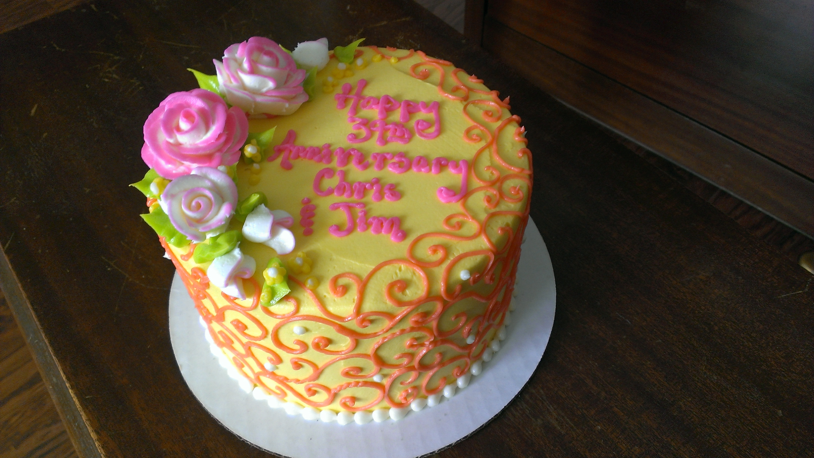 Happy 39th Wedding Anniversary Cake