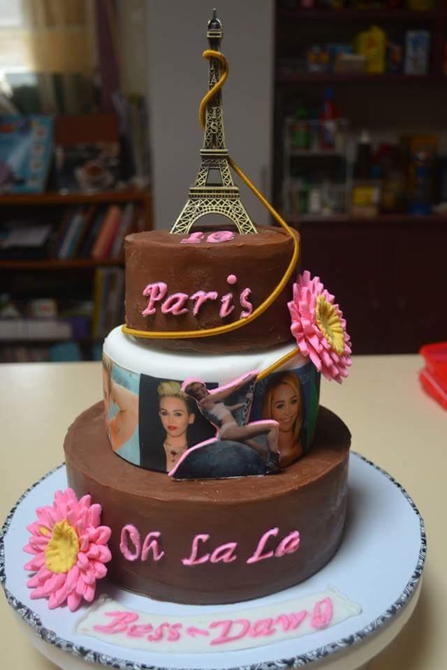 Incredible 10 Paris Themed Topsy Turvy Birthday Cakes Photo Paris Themed Funny Birthday Cards Online Fluifree Goldxyz