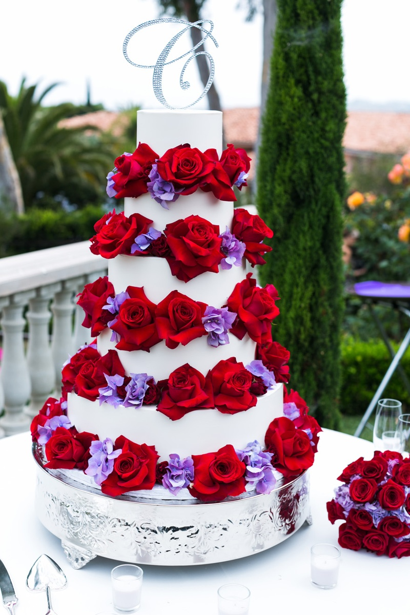 10 Red Wedding Cakes Purple Flowers Photo Wedding Cake With Purple