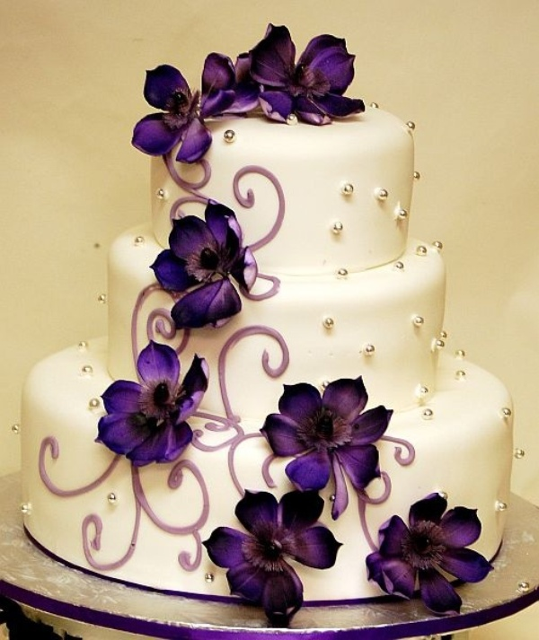 Wedding cake with pink and purple flowers flowers healthy wedding cake with purple flowers mightylinksfo