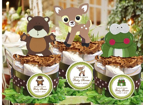Woodland Forest Animals Baby Shower Cake