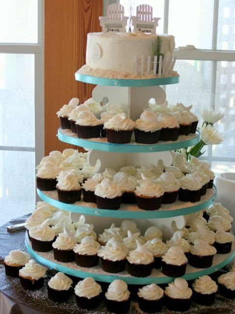 Beach Themed Cupcake Wedding Cake