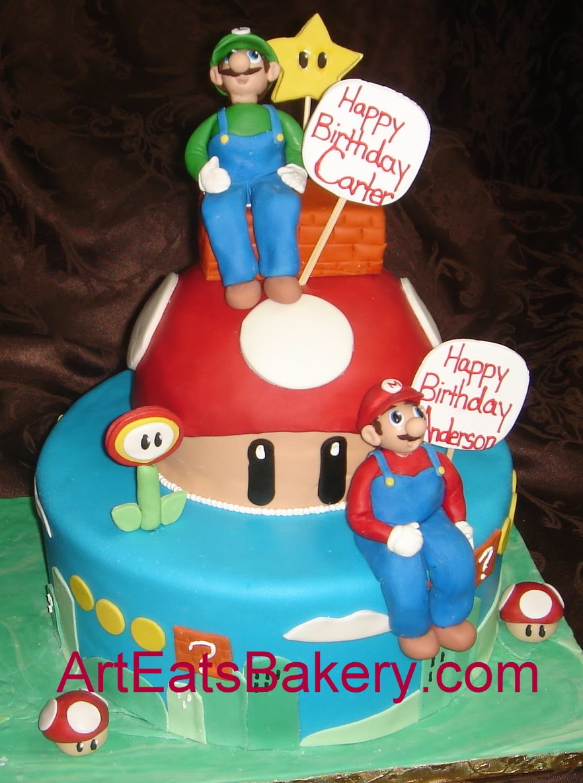 Remarkable 12 Mario Birthday Cakes For Boys Photo Fondant Birthday Cake Personalised Birthday Cards Petedlily Jamesorg