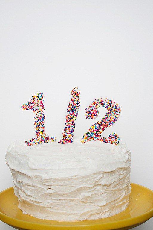 1 2 Birthday Cake Topper 6 Months Cake Topper Half Cake Topper Half Birthday Cake