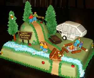 Happy Birthday Cake Camping