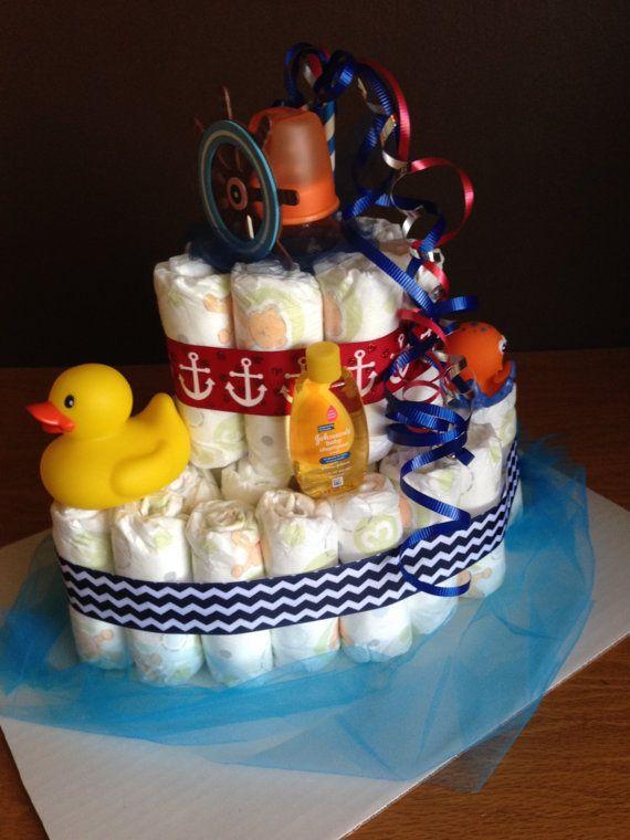 Nautical Baby Boat Diaper Cakes