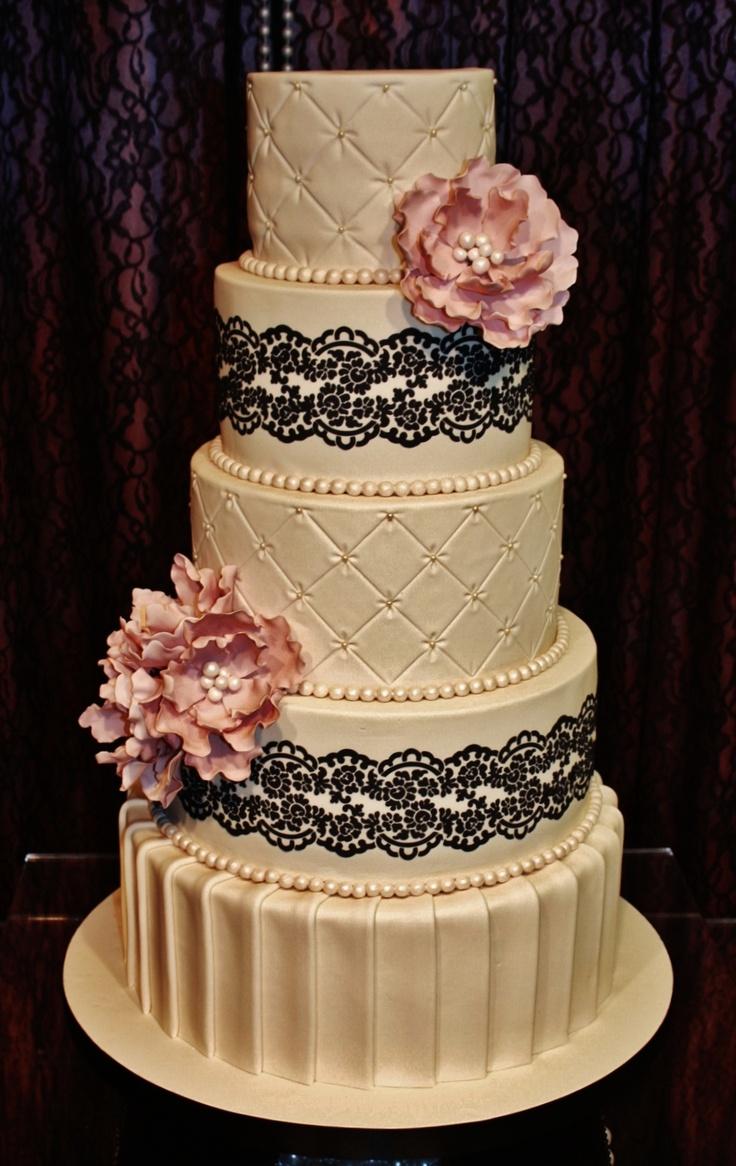 12 Ivory Flower Wedding Cakes Photo Lace Wedding Cake With Flowers