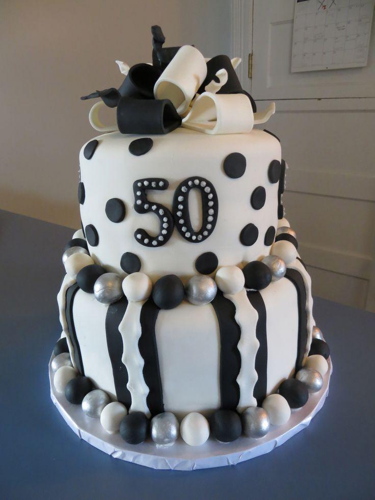 Black White 50th Birthday Cake