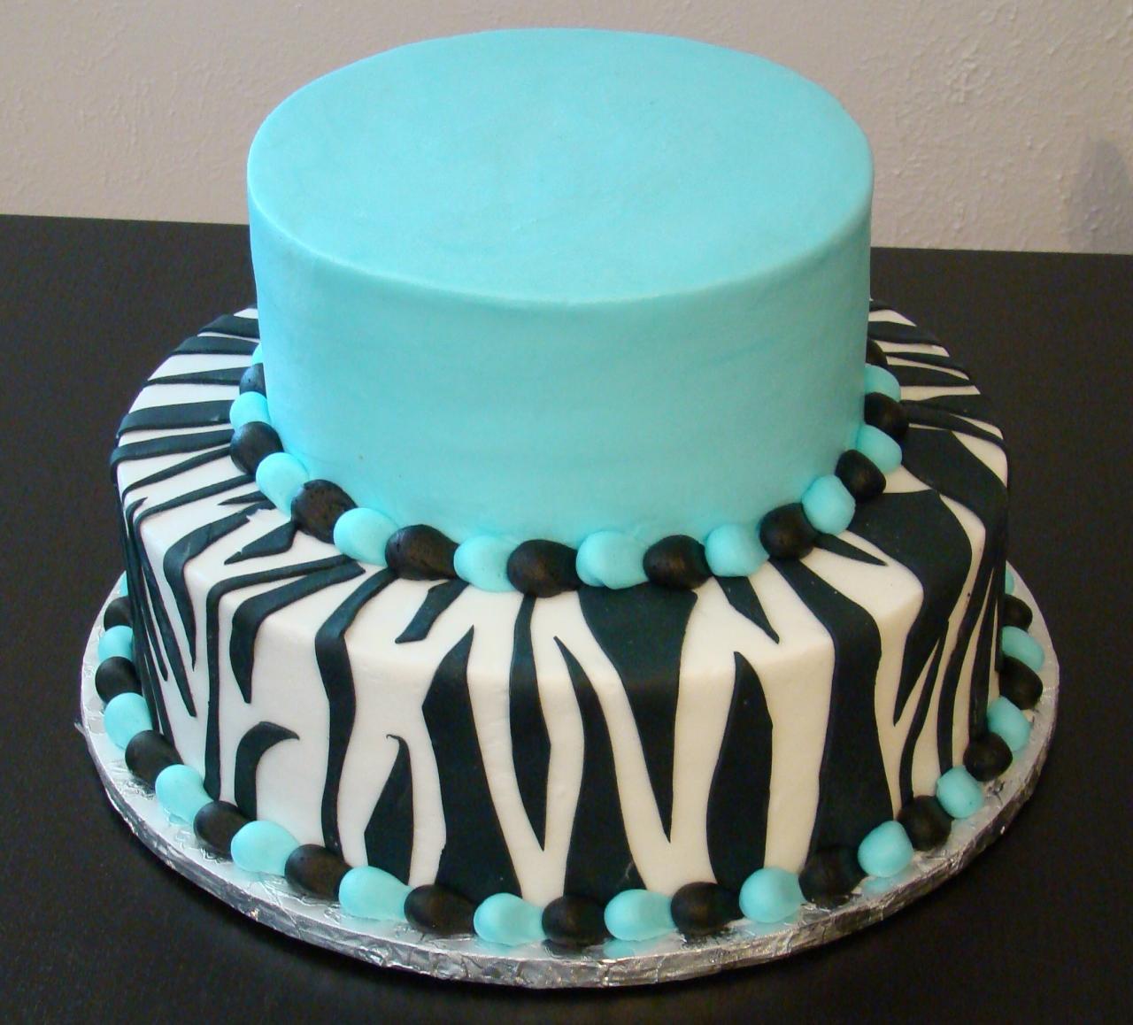 10 Blue Zebra Print Birthday Cakes Photo Blue Zebra Print Birthday
