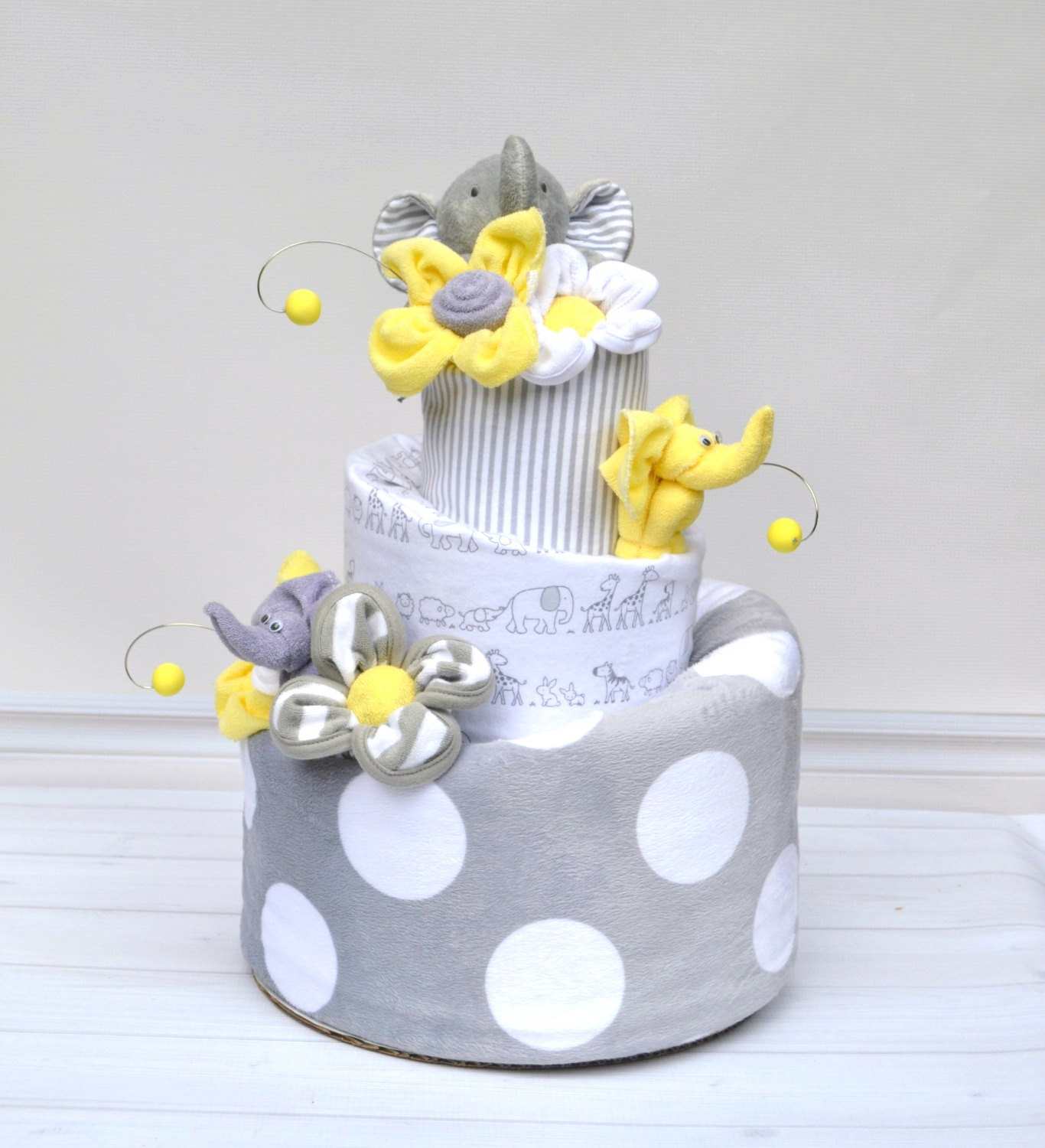 9 Neutral With Elephants Baby Shower Cakes Photo Yellow And Gray