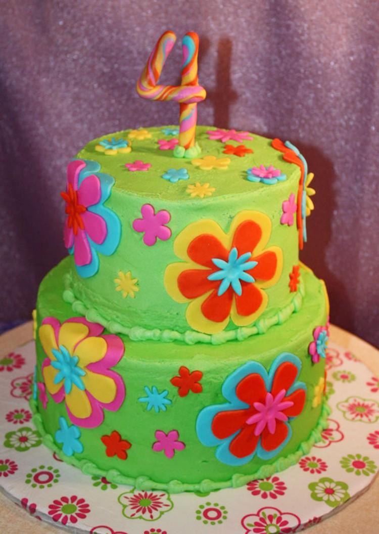 11 Flowers Girls Birthday Cakes Fondant Photo Girl 1st Birthday