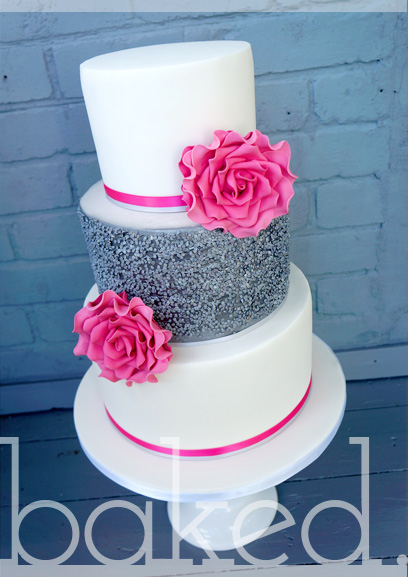 6 Fuschia And Silver Wedding Cakes Photo - Hot Pink and Silver ...