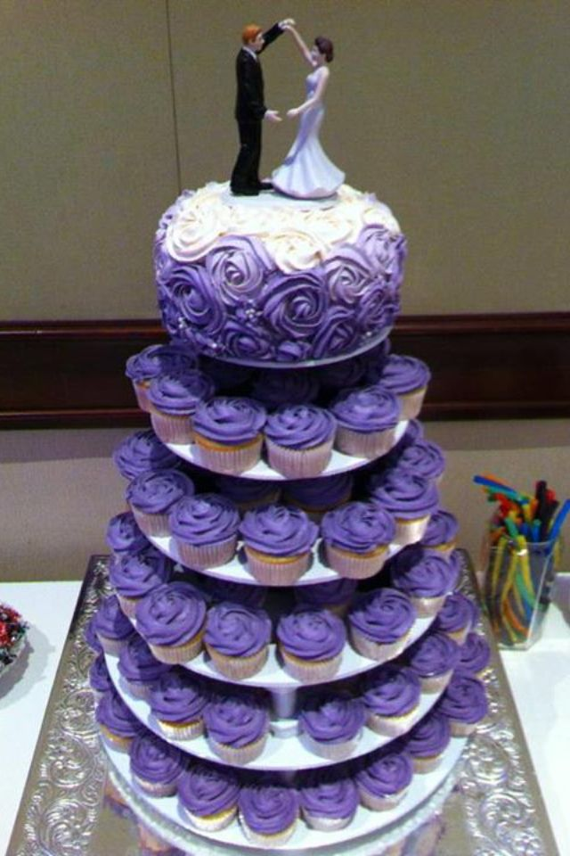 8 Purple Wedding Cake With Cupcakes Photo Purple Cupcake Wedding