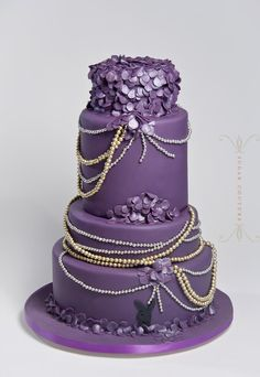 8 Silver Wedding Cakes Purple Gold Photo - Purple Lavender and ...
