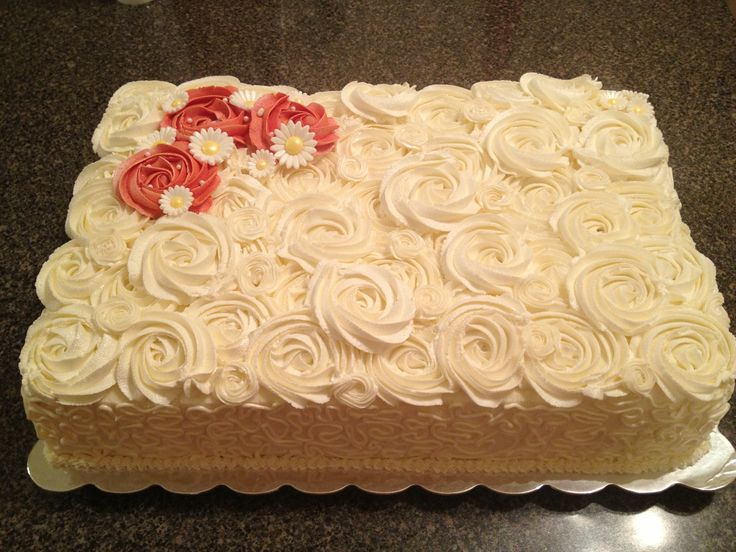 11 Red Rose Wedding Sheet Cakes Photo - Rosette Sheet Cake, Birthday ...