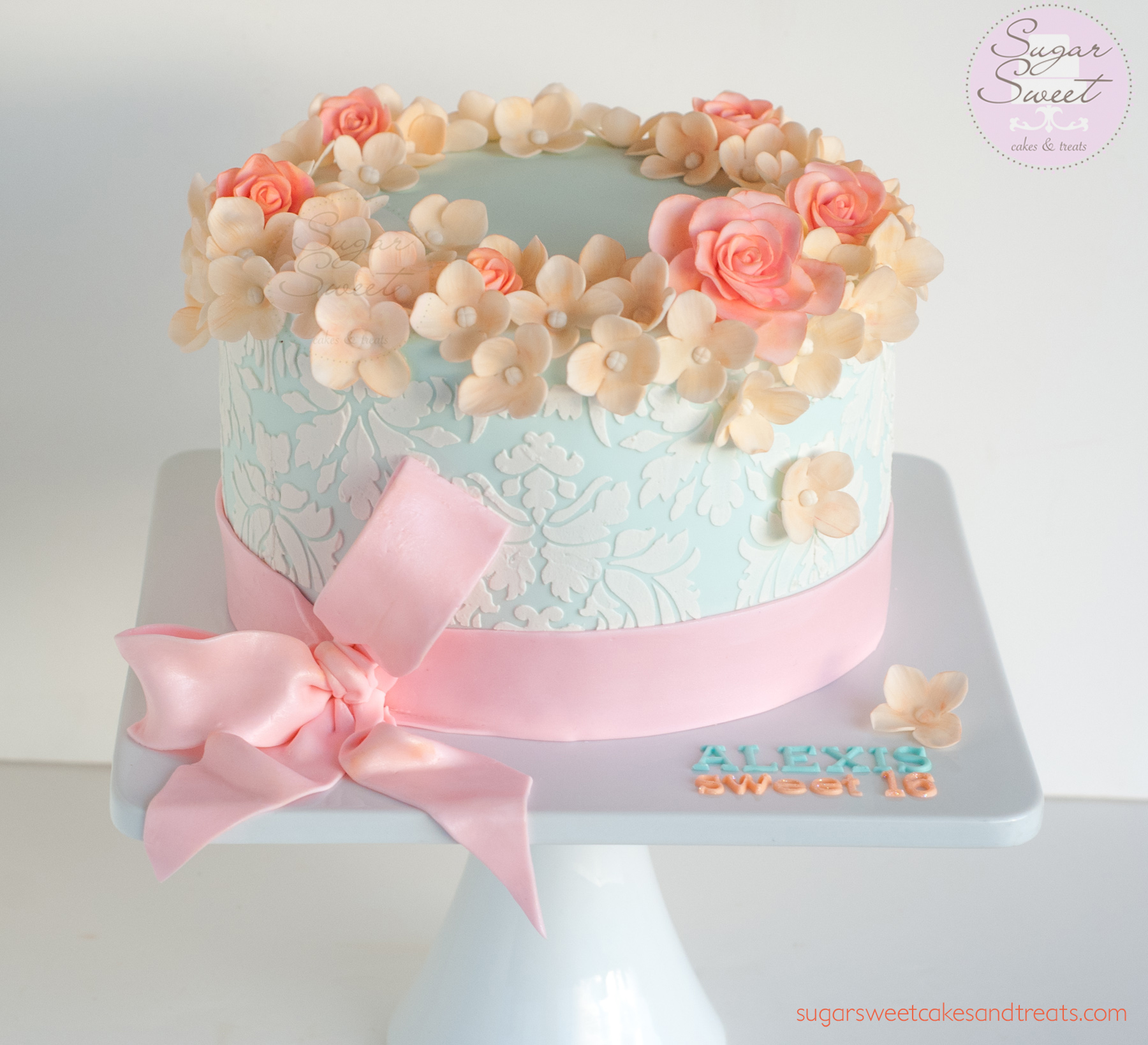 9 Birthday Cakes With Ribbon Roses Photo Birthday Cake With