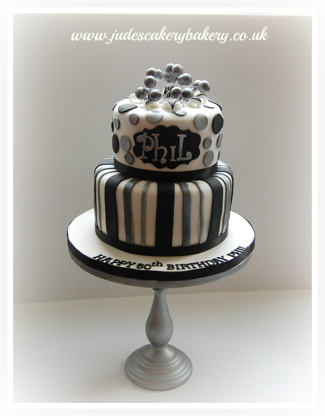Black And Silver Birthday Cake