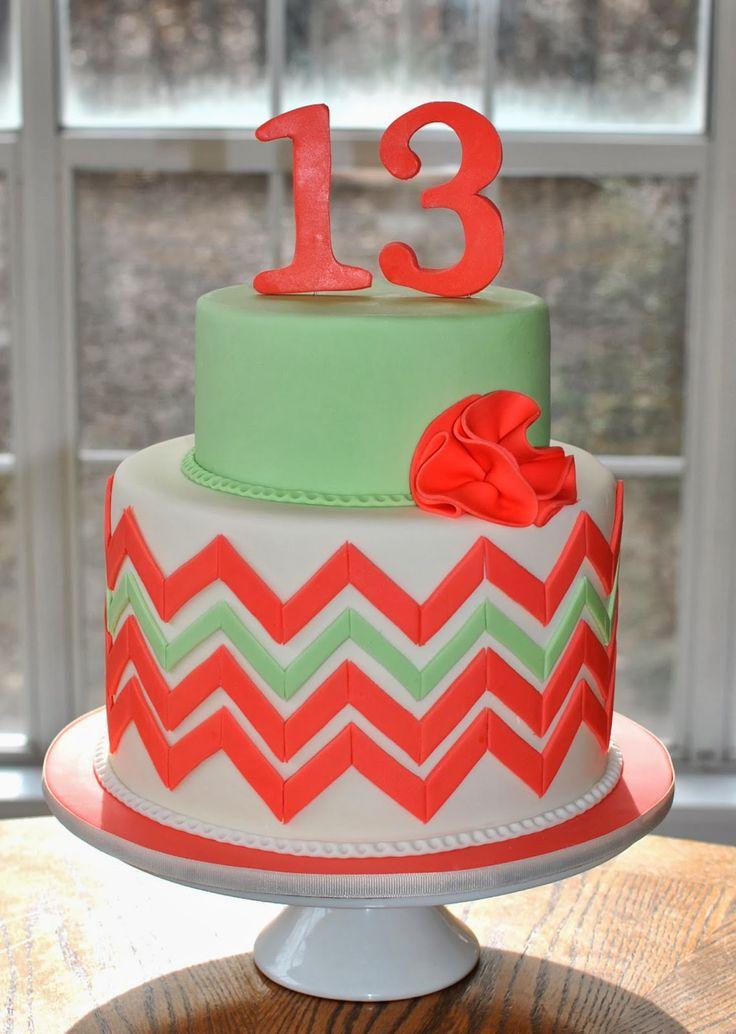 Chevron 13 Birthday Cakes