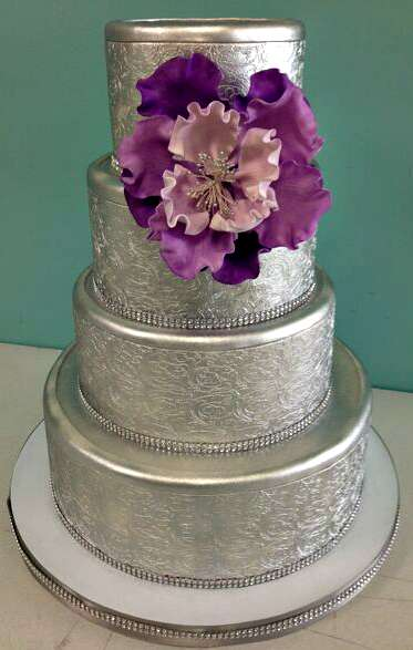 Purple And Silver Wedding Cakes With Bling