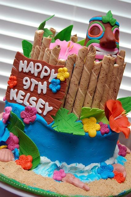 Excellent 11 Luau Cakes For Men Photo Tiki Luau Birthday Cake Tiki Funny Birthday Cards Online Elaedamsfinfo