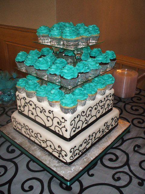 10 Cupcake Wedding Cakes Turquoise Photo - Turquoise Black and White ...