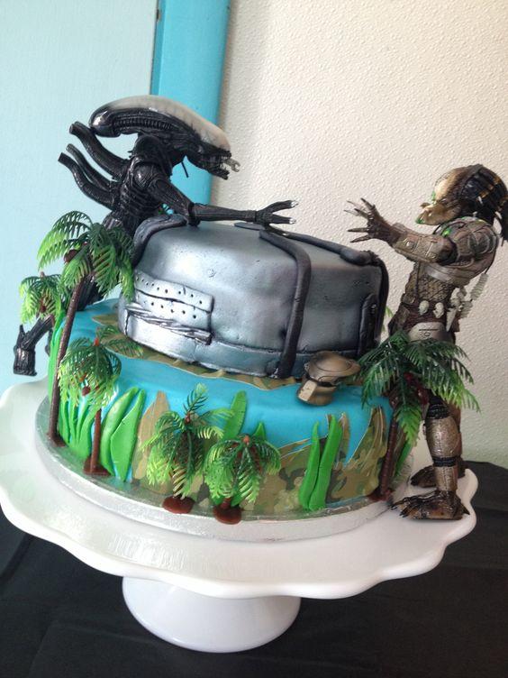 Awesome 10 Avp Birthday Cakes Photo Alien Vs Predator Birthday Cake Funny Birthday Cards Online Elaedamsfinfo