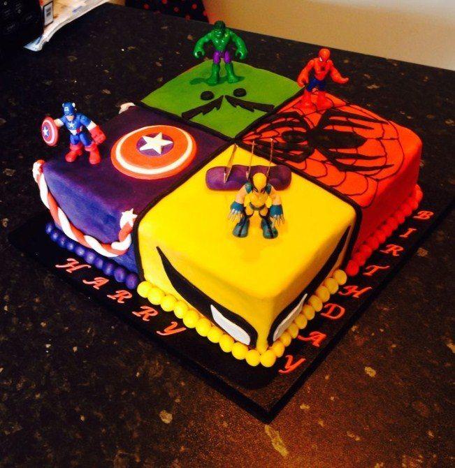 Stupendous 8 Simple Superhero Birthday Cakes Photo Boys Superhero Birthday Funny Birthday Cards Online Elaedamsfinfo