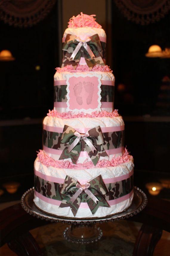 Pink Camo Baby Diaper Cake