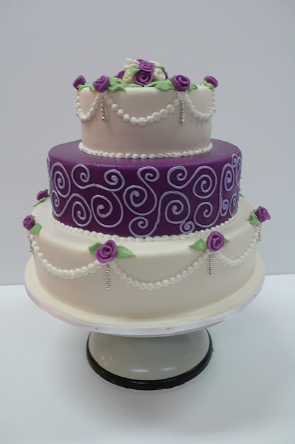 10 Decorated Cakes White Purple Photo - Purple White Wedding Cake ...
