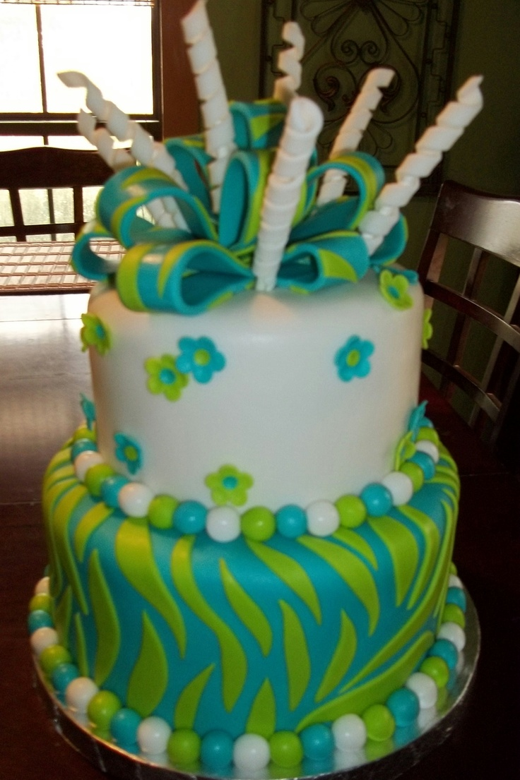 10 10 Green Birthday Cakes Photo Blue And Green Birthday Cake