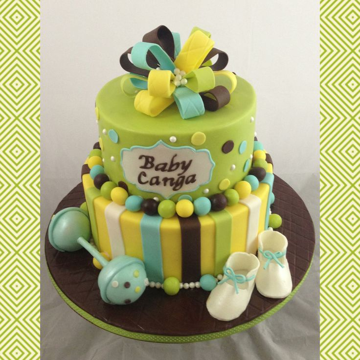 9 Green And Yellow Baby Shower Cakes Photo Green And Yellow Baby