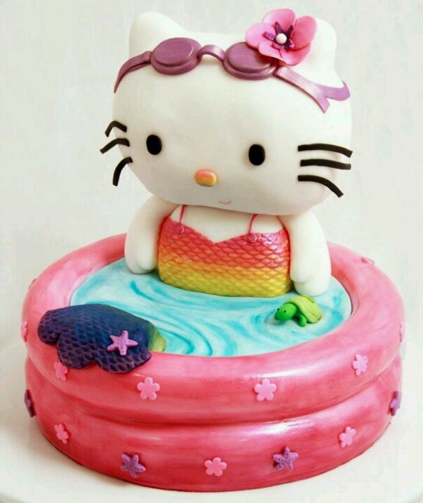 12 Hello Kitty Swim Party Cakes Photo
