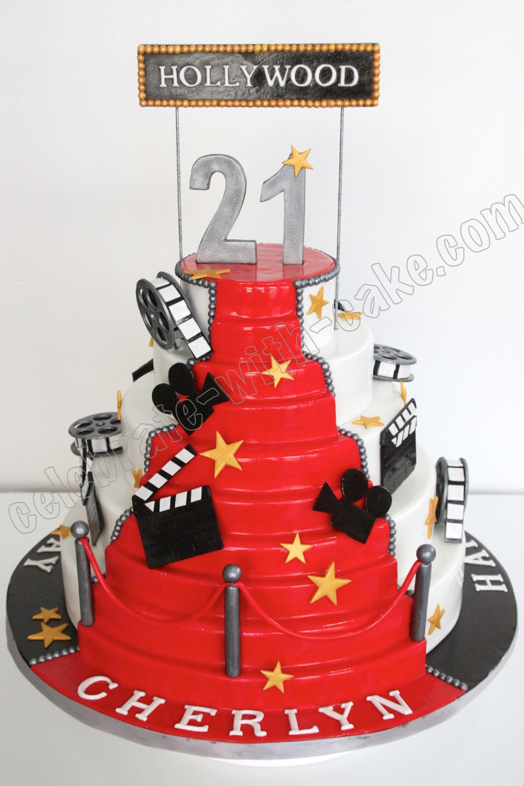 Pleasing 13 Hollywood Birthday Cakes Photo Hollywood Themed Cake Funny Birthday Cards Online Elaedamsfinfo