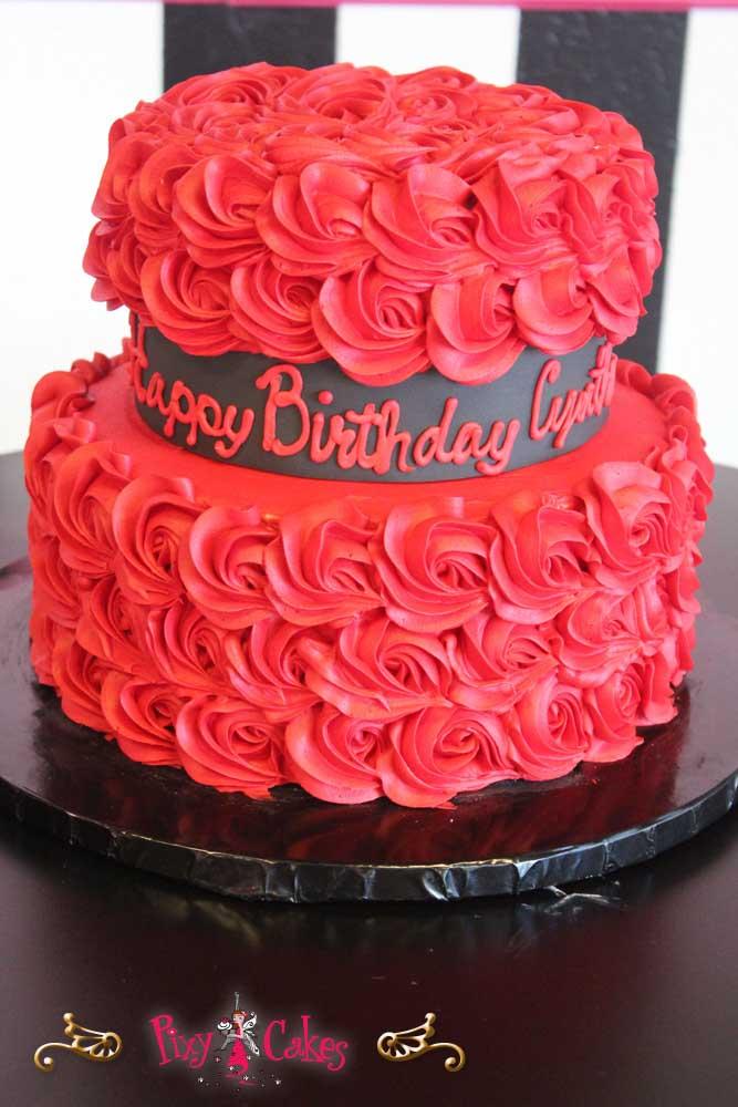 8 Red 2 Tier Birthday Cakes Photo Two Tier Birthday Cake 2 Tier