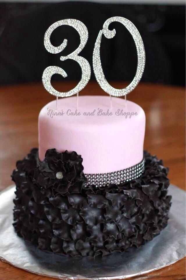 11 Bday Cakes With Red And Black Rhinestones Photo 30th Birthday