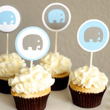8 Blue Elephant Cupcakes Photo Blue And Gray Elephant Baby Shower