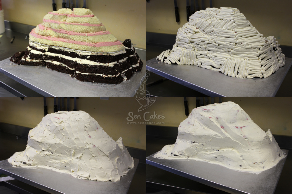 Cakes shaped like a mountain photo scene
