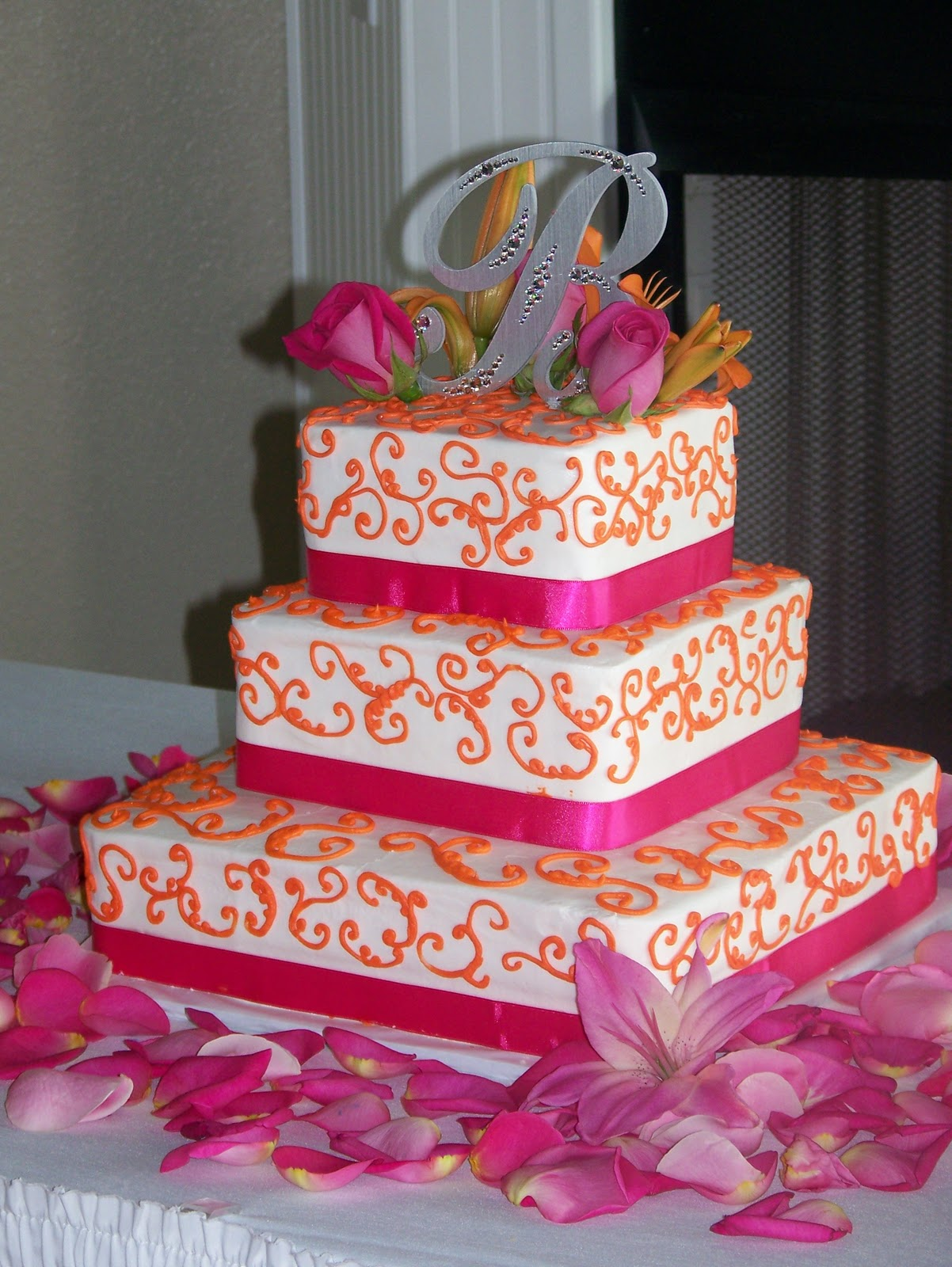 13 Pink And Green And Orange Wedding Cakes Photo - Pink and Orange ...