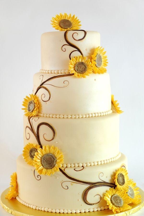 12 Sun Flowers Wedding Cakes Photo - Sunflower Wedding Cake Ideas ...